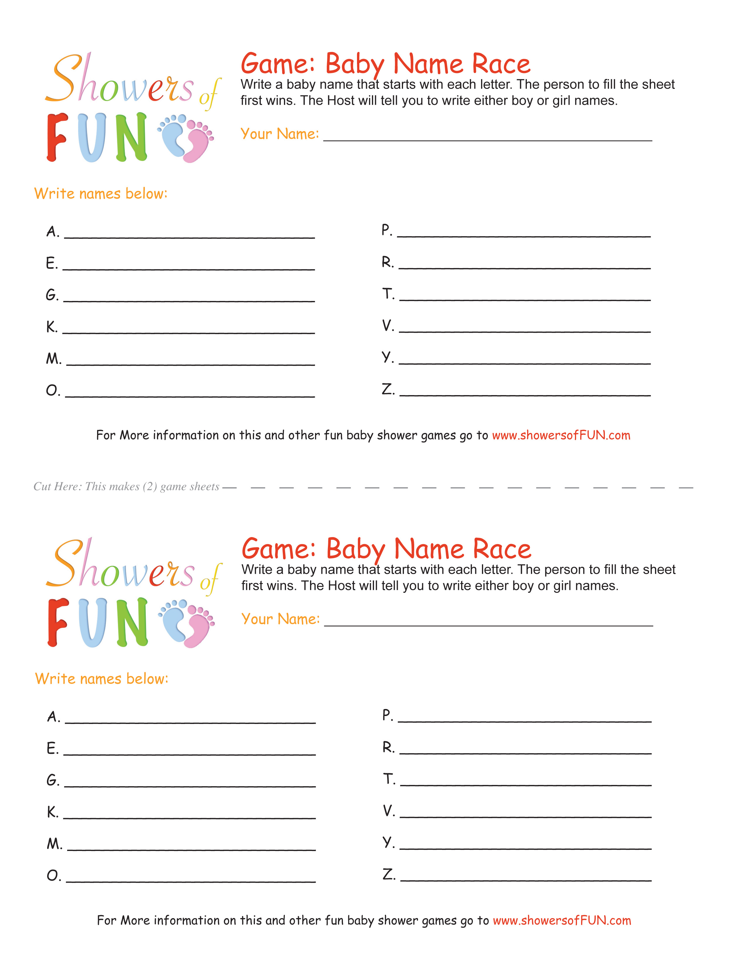 Baby Name Race Baby Shower Game