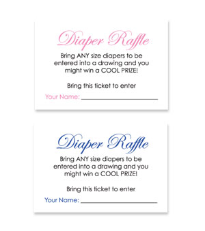 Choose a free printable baby shower diaper raffle ticket below.