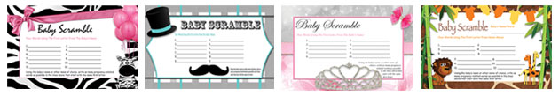 free printable baby scramble baby shower games