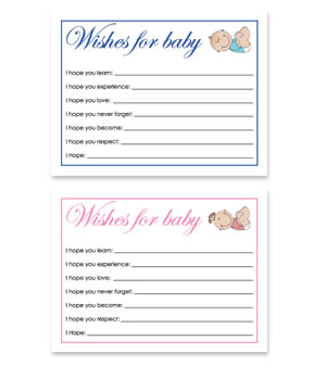 Free Printable Baby Shower Wish Cards for Baby