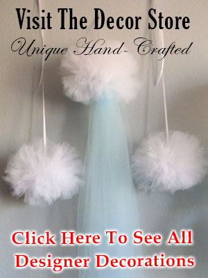 Tulle pom pom baby shower decorations