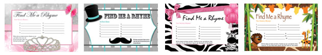 free printable find me a rhyme baby shower games