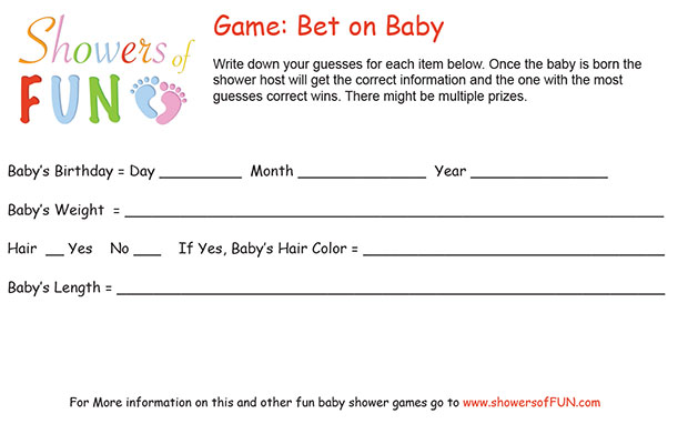 Guess Babys Birthday Bet On Baby Game