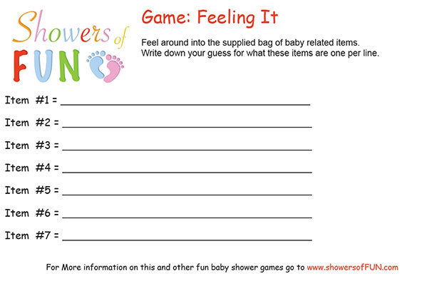 Feeling It Baby Shower Game