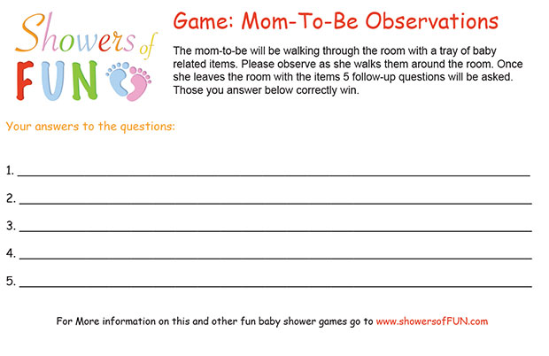 mom to be observation baby shower game