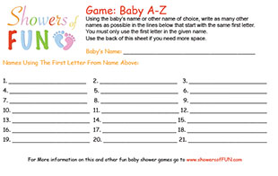 Baby A-Z baby shower game