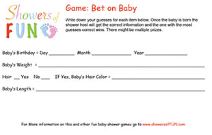 Bet on baby game