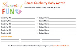 Celebrity baby match baby shower game