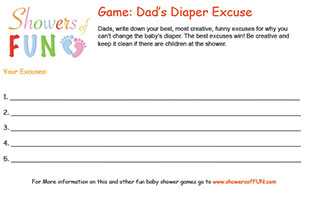 Dad's diaper excuse baby shower game