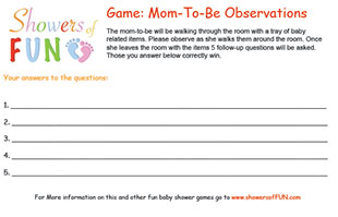 Mom-to-be observations baby shower game