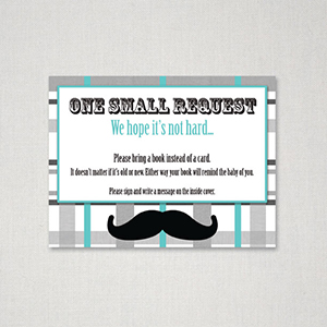 Great ... Mustache Theme Bring Book Card