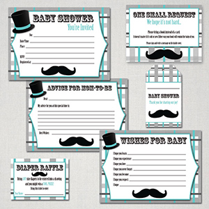 Mustache baby shower free printable package
