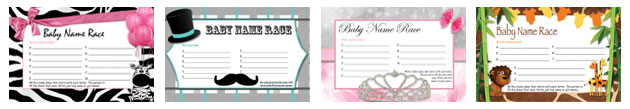 free printable baby name race baby shower games
