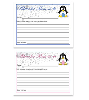 penguin theme free baby shower advice for card