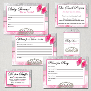 Princess baby shower free printable package