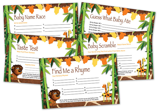 Safari Printable Baby Shower Games