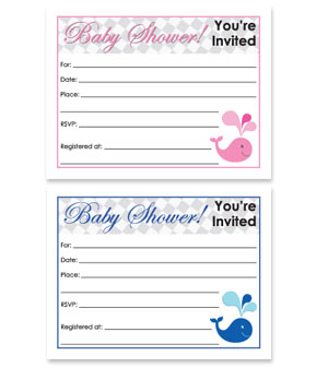 Whale Theme Free Printable Baby Shower Invitation