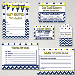 Yellow and Blue baby shower free printable package