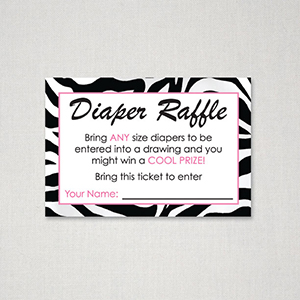 Safari Diaper Raffle Ticket · Zebra Diaper Raffle Ticket